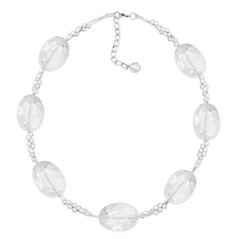 NECKLACE LARGE FACETED PLASTIC BEADS TRANSPARENT TINY BEADS PEARLY WHITE