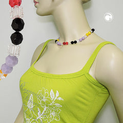 NECKLACE HONEYCOMB BEADS MULTICOLOR FACETED 42CM