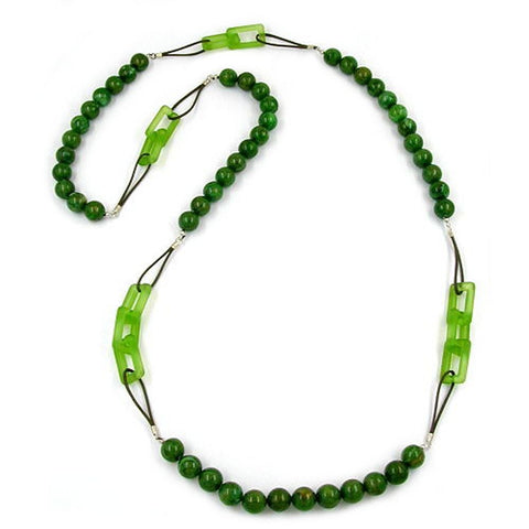NECKLACE BEADS GREEN MARBELED 110CM