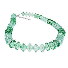 NECKLACE MANY FACETED BEADS PETROL-TURQUOISE TRANSPARENT 42CM