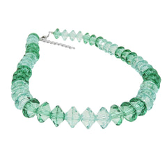 NECKLACE MANY FACETED BEADS PETROL-TURQUOISE TRANSPARENT