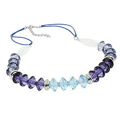 NECKLACE FACETED BEADS BLUE SILVER COLOURED BEADS 45CM