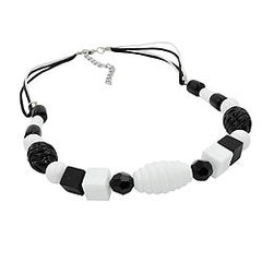 NECKLACE VARIOUS BEADS BLACK AND WHITE BLACK AND WHITE CORD 45CM