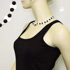 NECKLACE VARIOUS BEADS BLACK AND WHITE SHINY 42CM