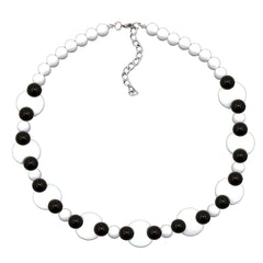 NECKLACE VARIOUS BEADS BLACK AND WHITE SHINY