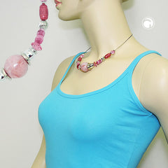 NECKLACE PINK AND SILVER-COLOURED BEADS ON COATED FLEXIBLE WIRE 45CM