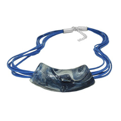 NECKLACE FLAT-CURVED TUBE BEADS BLUE-GREY