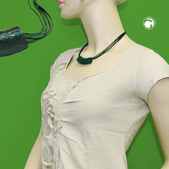 NECKLACE TUBE FLAT-CURVED DARK-GREEN 45CM