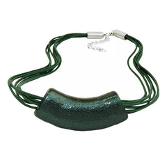 NECKLACE TUBE FLAT-CURVED DARK-GREEN