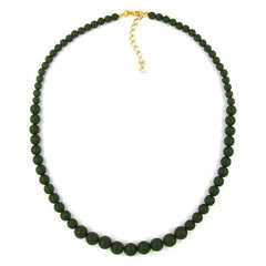 NECKLACE BEADS 6/8/10MM OLIVE GREEN 50CM