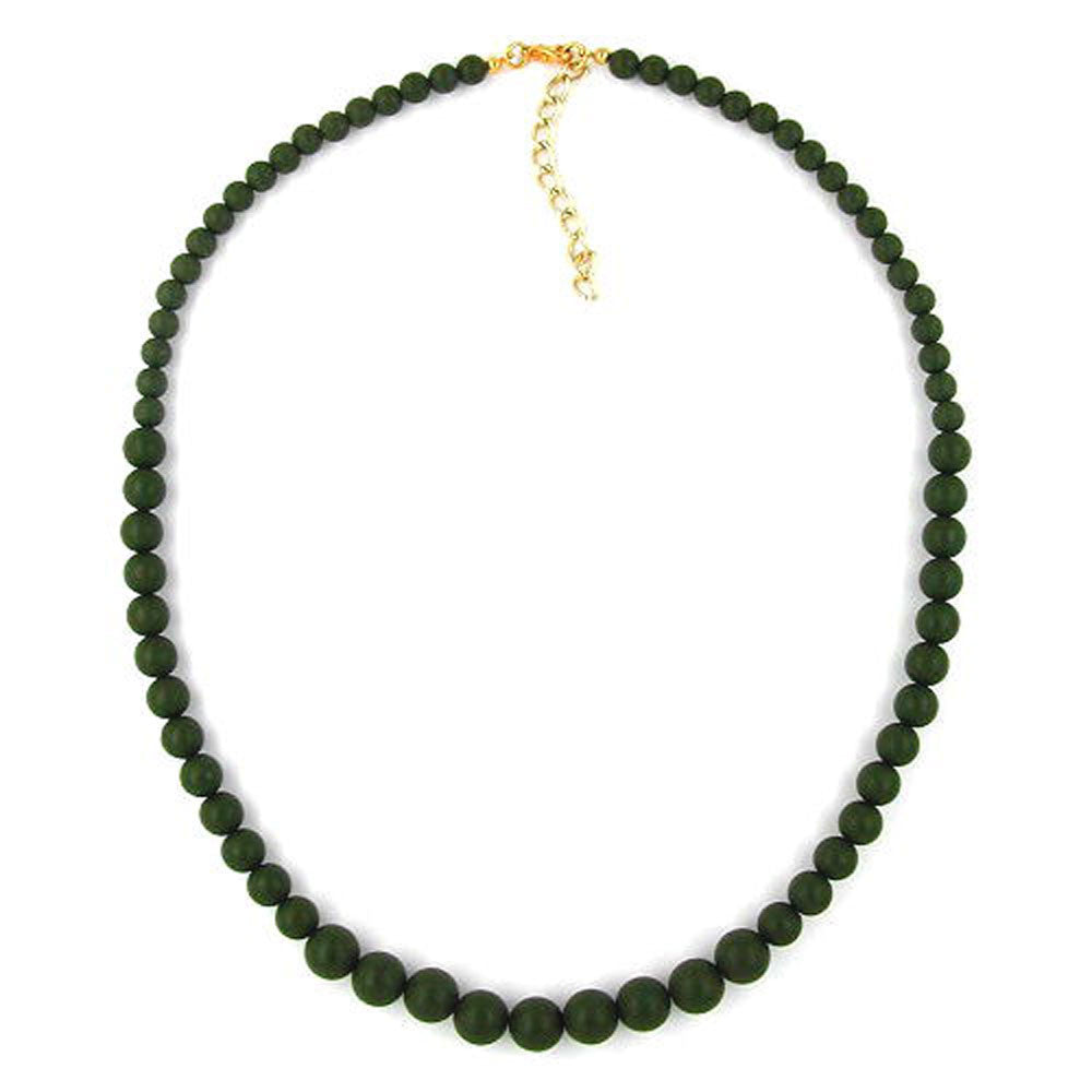 NECKLACE BEADS 6/8/10MM OLIVE GREEN