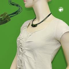 NECKLACE TUBE FLAT CURVED GREEN 45CM