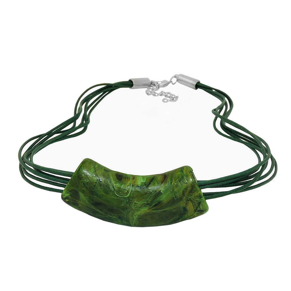 NECKLACE TUBE FLAT CURVED GREEN 50CM