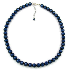 NECKLACE BEADS 10MM STEEL-BLUE 42CM