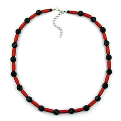 NECKLACE RED AND BLACK BEADS 50CM