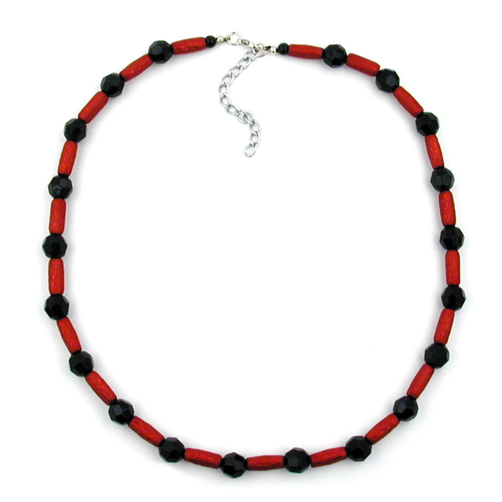 NECKLACE RED AND BLACK BEADS