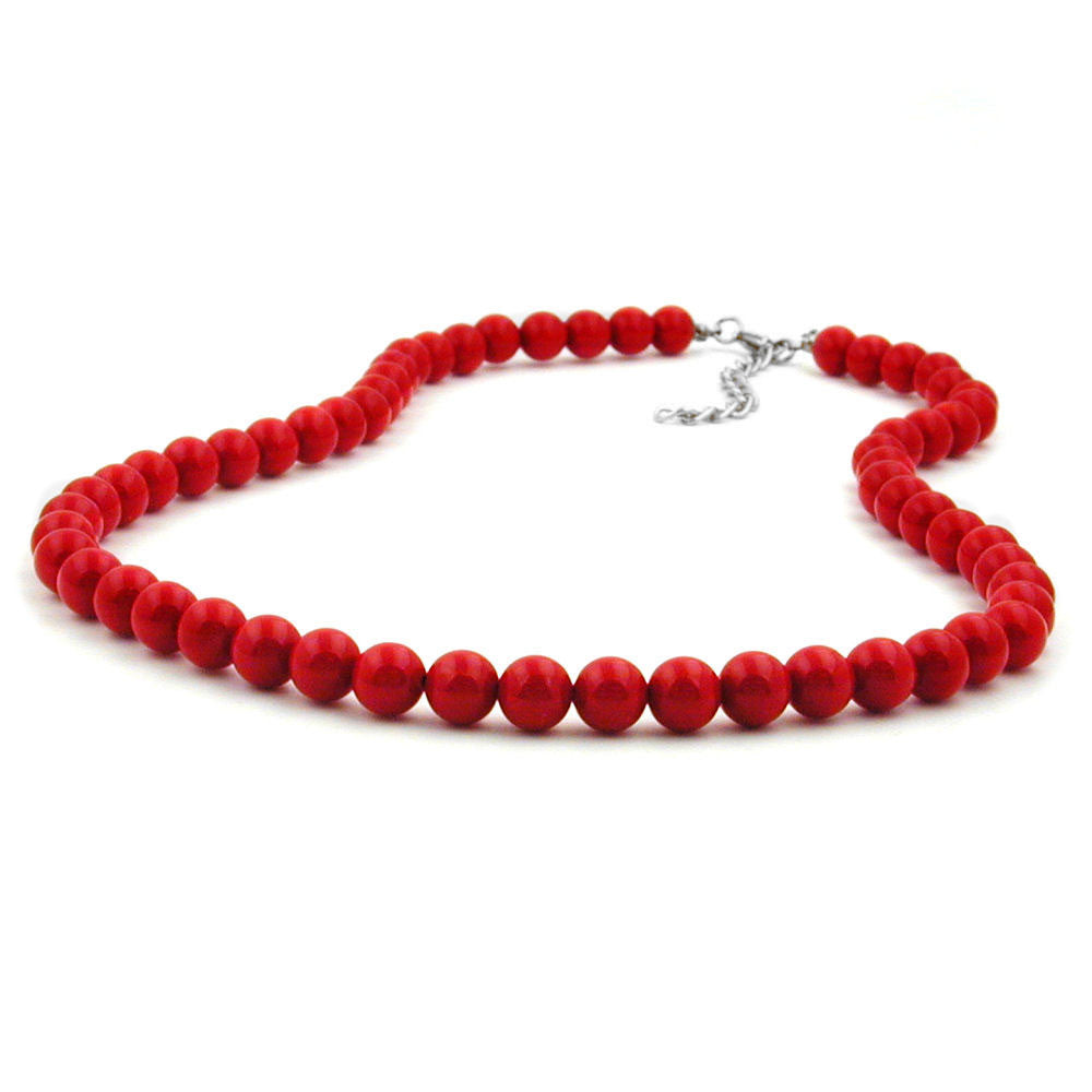 NECKLACE BEADS 8MM RED SHINY 80CM