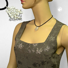 NECKLACE ROSE SILVER-COLOURED/ MATTE-FINISH 38CM