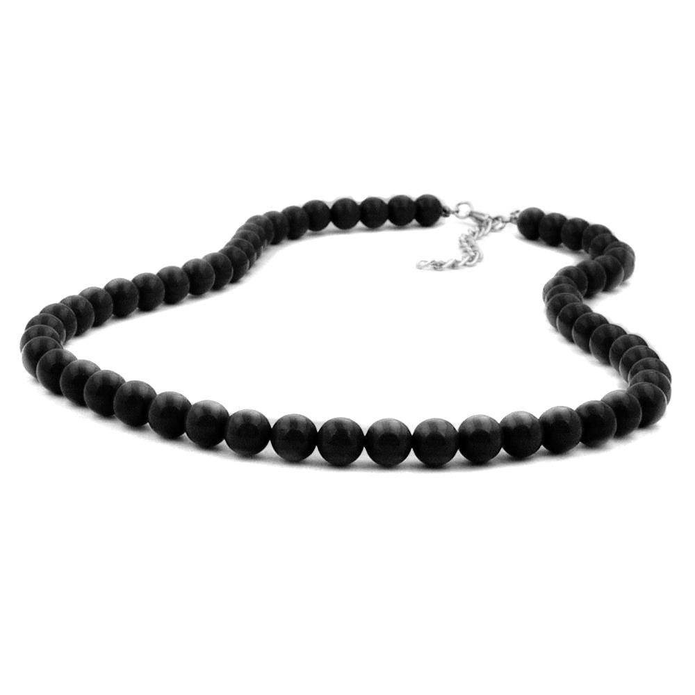 NECKLACE BEADS 8MM BLACK SILVER 70CM