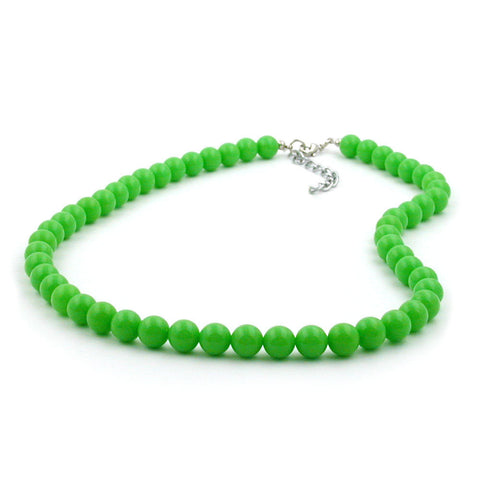 NECKLACE BEADS 8MM GREEN SHINY 40CM