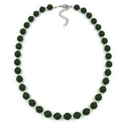 NECKLACE OLIVE GREEN BEADS 50CM