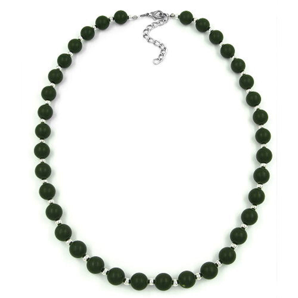 NECKLACE OLIVE GREEN BEADS