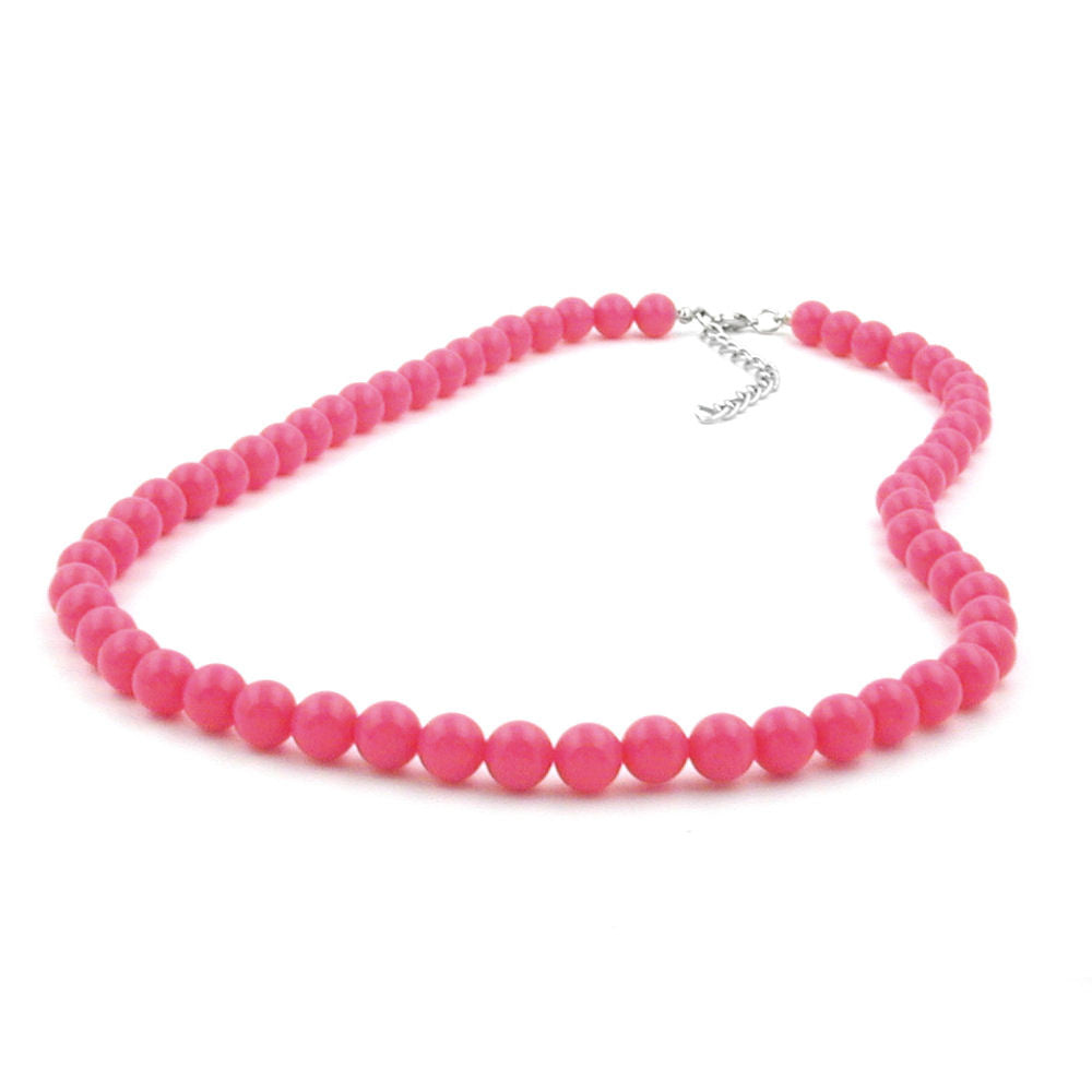 NECKLACE BEADS ROSE-PINK 8MM 50CM