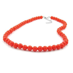 NECKLACE BEADS ORANGE-RED 8MM 45CM