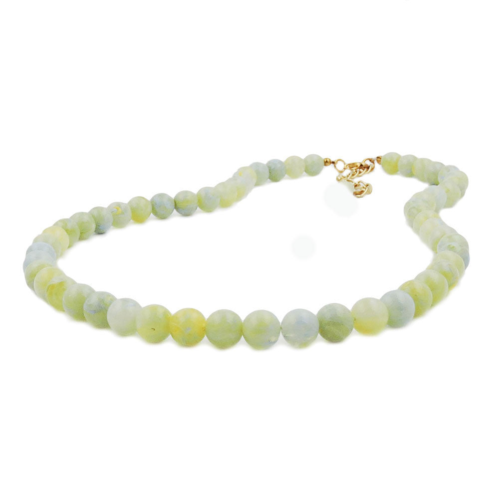 NECKLACE BEADS 8MM GREEN-WHITE 40CM