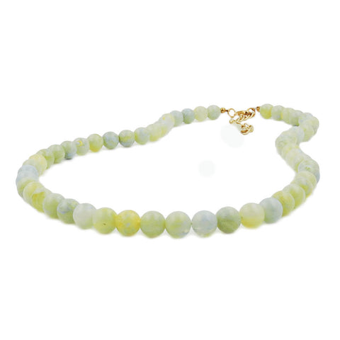 NECKLACE BEADS 8MM GREEN-WHITE 42CM