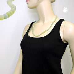 NECKLACE BEADS 8MM GREEN-WHITE 60CM