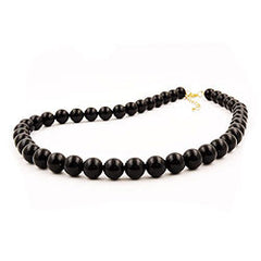 NECKLACE BEADS 10MM BLACK SHINY 50CM