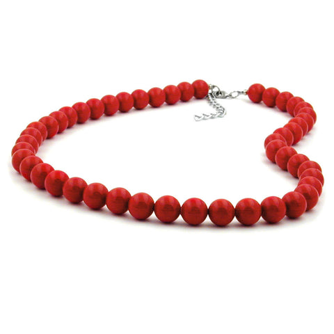 NECKLACE BEADS 10MM RED SHINY 55CM
