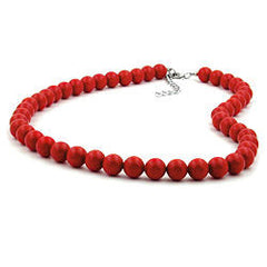 NECKLACE BEADS 10MM RED SHINY 80CM