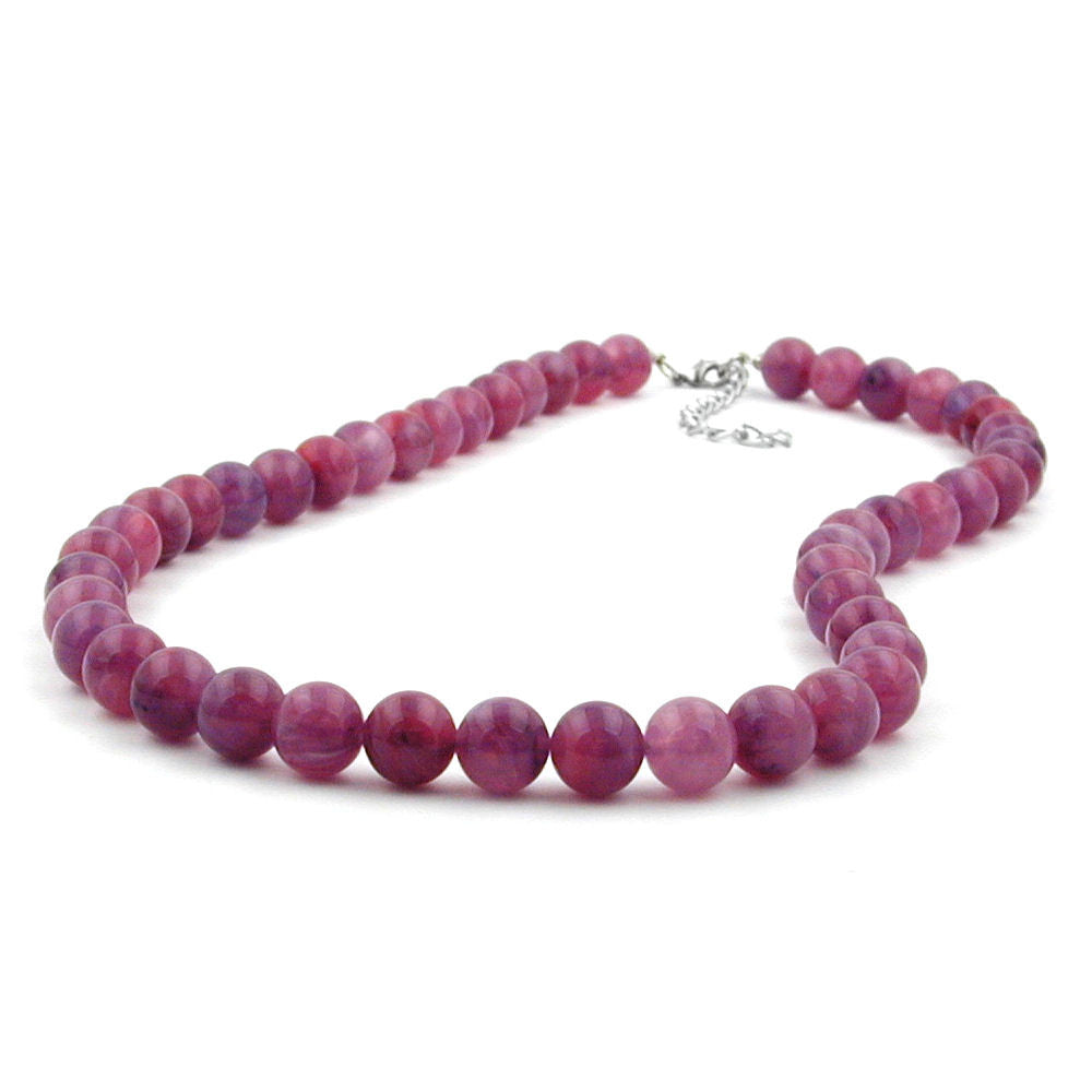 NECKLACE BEADS 10MM LILAC-PURPLE 45CM