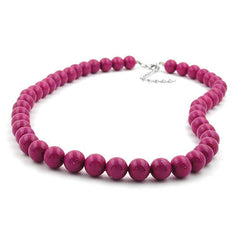 NECKLACE WITH PURPLE BEADS 10MM 42CM