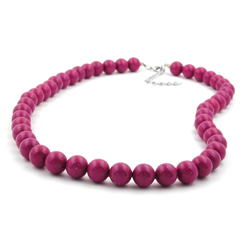 NECKLACE WITH PURPLE BEADS 10MM 70CM