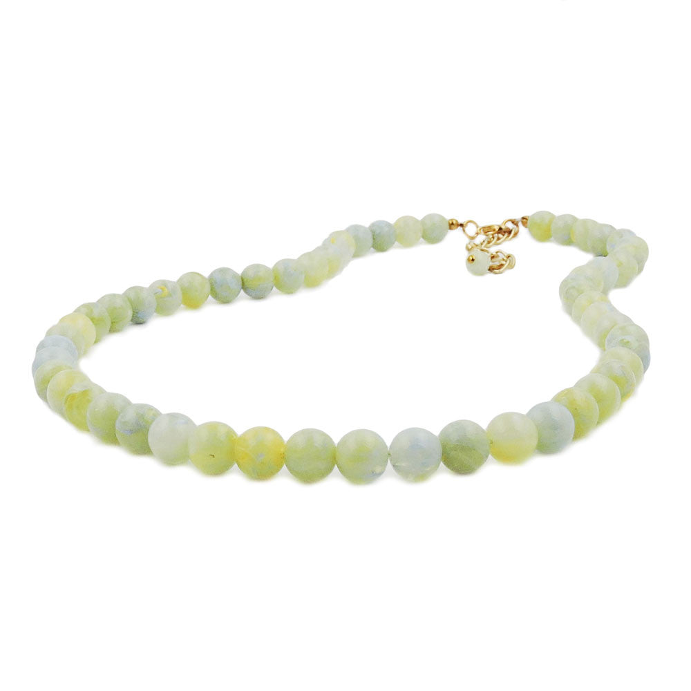 NECKLACE BEADS 10MM YELLOW-GREEN 40CM