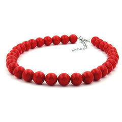 NECKLACE DARK RED BEADS 12MM 45CM