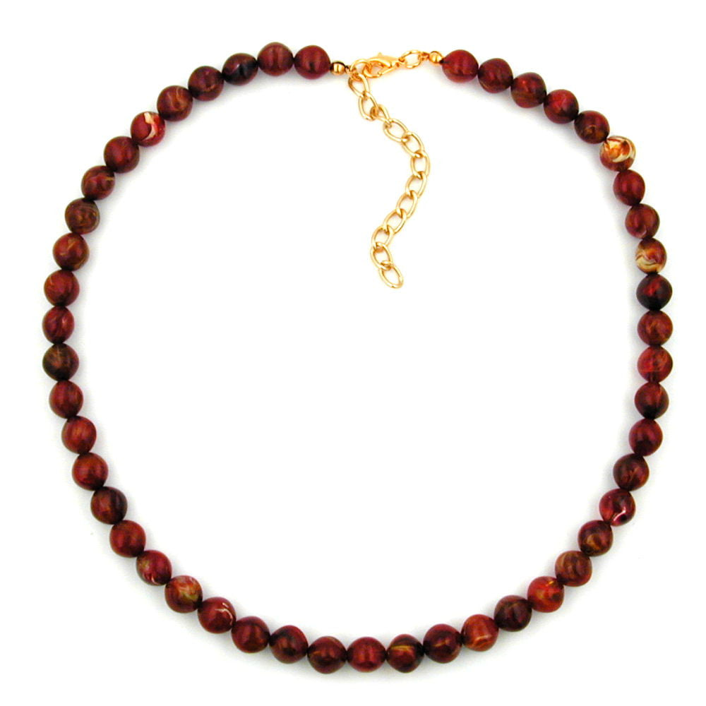 NECKLACE RED MARBLED BEADS