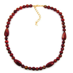 NECKLACE OLIVE SHAPED RED MARBLED BEADS 45CM