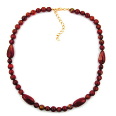 NECKLACE OLIVE SHAPED RED MARBLED BEADS