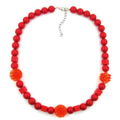 NECKLACE RED CUBIC ROUND AND SPIRAL BEADS 52CM