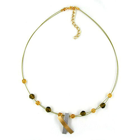 NECKLACE METAL PENDANT X GOLD AND GRAPHIT COLOURED MATT 42CM