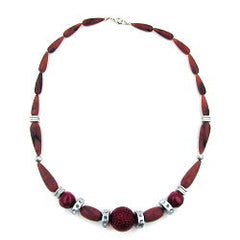 NECKLACE CHOCOLATE BROWN RED SILVER-GREY 55CM