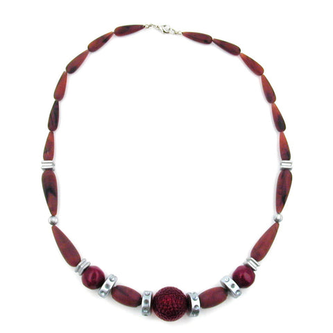 NECKLACE CHOCOLATE BROWN RED SILVER-GREY