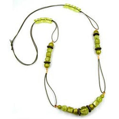 NECKLACE GREEN-OLIVE BEADS 100CM