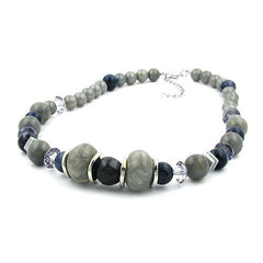 NECKLACE DIFFERENT GREY AND SILVER-GREY BEADS 50CM