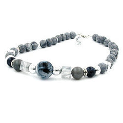 NECKLACE GREY BLUE CHROMED BEADS 50CM