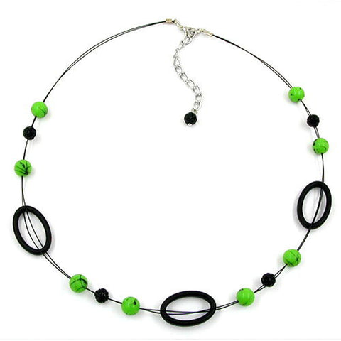 NECKLACE GREEN AND BLACK BEADS